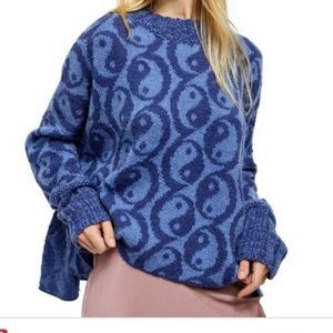 Free People Yin Yang Purple Pullover Sweater